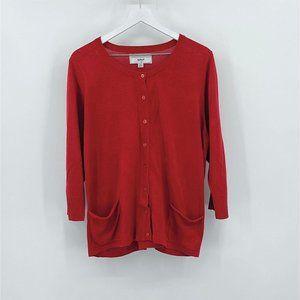 Avenue Design Red Button Cardigan Pockets